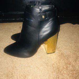 Gold heel booties